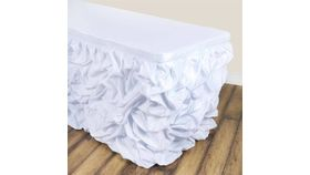 Image of a 13' White Ruffled Table Skirt