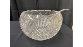 Image of a 2 GAL GLASS PUNCH BOWL WITH LADLE