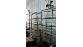Image of a 77in H x 26in W x 14in D - Metal with Glass or Wood Shelf Unit