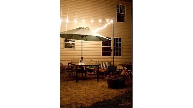 "Picture of a 2""D Metal Pole for Bistro Lights"