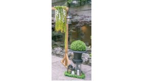 Image of a Arch Wooden Single Stand- add decor base of Arch- 1 side