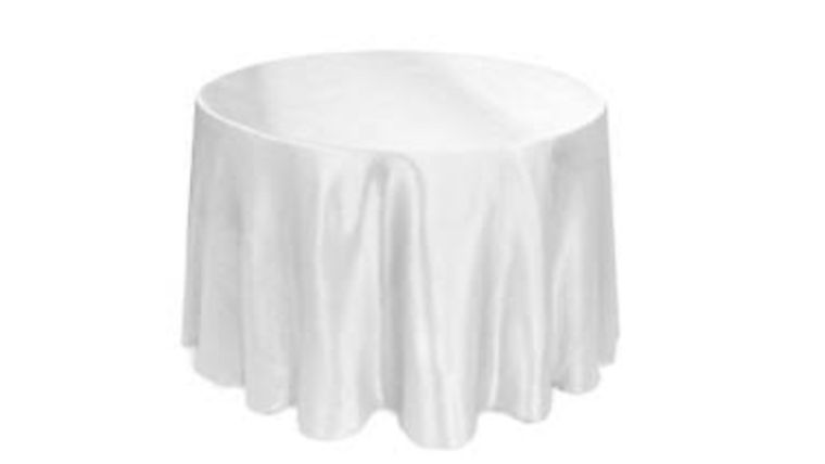 """Picture of a 90"""" Round Satin Tablecloth - White"""