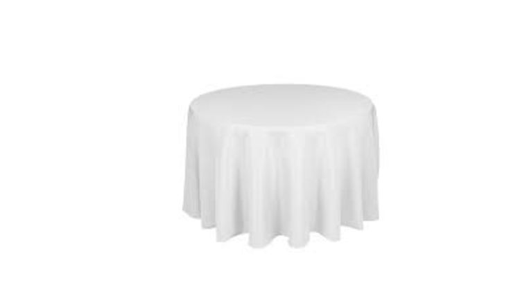 Picture of a 108 Round Polyester Tablecloth - White
