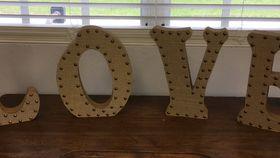 Image of a Burlap L.O.V.E letters