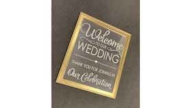 """Image of a """"Welcome Our Wedding"""" Gold Mirror"""