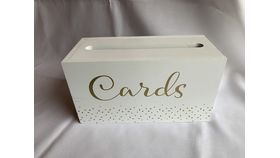 Image of a White Card Box -White w/ Gold Lettering