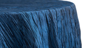 Image of a 120 Round Accordion Crinkle Taffeta Tablecloth - Navy Blue