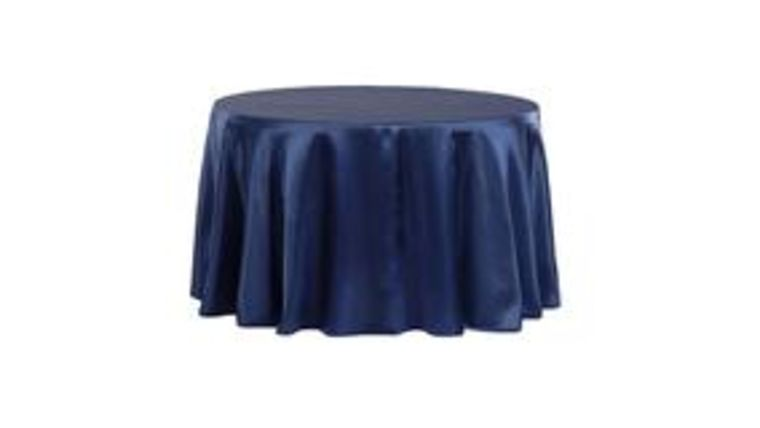 """Picture of a 108"""" Round Satin Tablecloth - Navy Blue"""