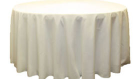 "Image of a 108"" Round Polyester Tablecloth - Ivory"