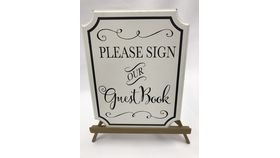 Image of a Black and White Guestbook Sign with Gold Easel (F)