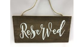 Image of a Brown Wood Hanging Reserved Sign
