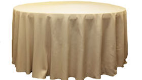 Image of a 120 Round Polyester Tablecloth - Champagne