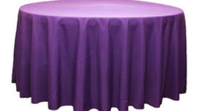 Image of a 120 Round Polyester Tablecloth - Purple