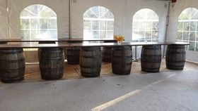 Image of a 12 ft Wood Top for Barrel Bar