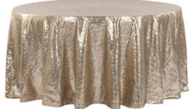 Image of a 108 Round Sequin Tablecloth - Champagne