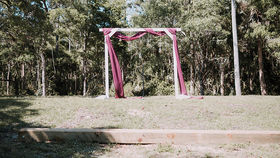 Image of a 2 Post Wood Arbor - White Wash