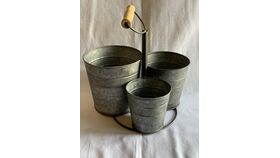 Image of a Three Galvanized Bucket Prop With Handle