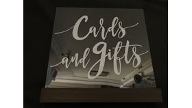 Image of a Cards & Gifts Sign - Acrylic (AA) - Dark Wood