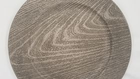 Image of a Gray Wood Grain Charger Plate (L)