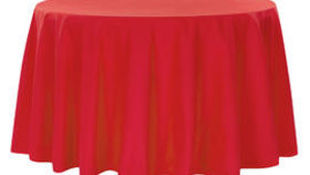 Image of a 120 Round Polyester Tablecloth - Red