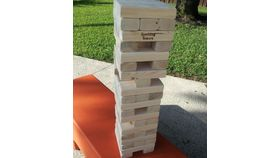 Image of a Giant Jenga on Wine Barrel