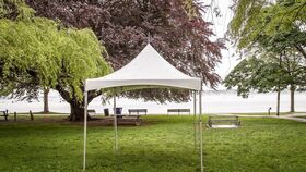 Image of a 10x10 White Festival Frame Tent Installed