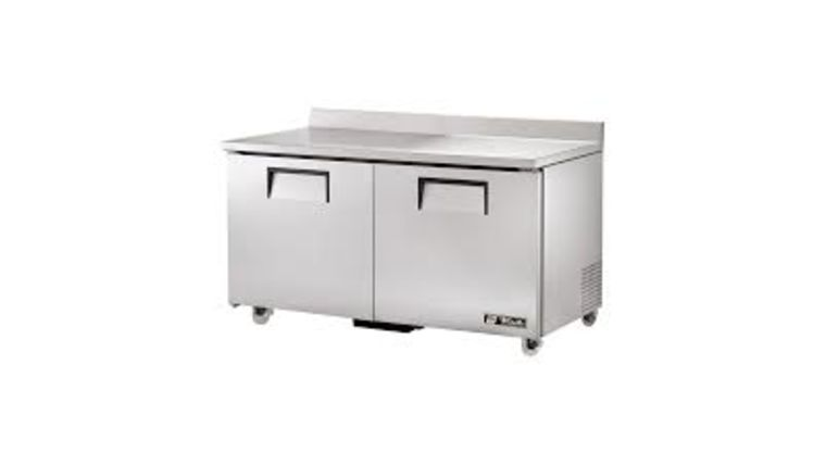 """Picture of a 36"""" Flat Top Prep Stanchion Double Door Refrigerator"""