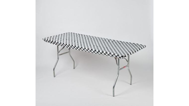 Picture of a Kwik Cover-Black-White-Check-8'-Banquet