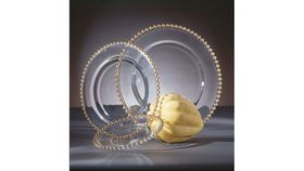 Image of a Charger-Belmont-Light Gold Beaded Glass