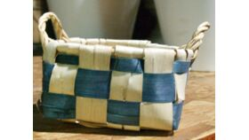 Image of a Basket-Blue & White Checkered