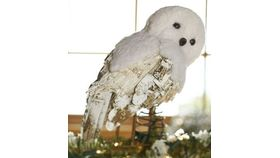 Image of a 10'' Tall White Snow Owl With Glitter