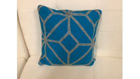 Image of a Pillow Cover-Blue/Gray Diamond