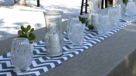 Image of a Table Runner-Chevron-Gray and White