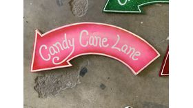 Image of a Sign-Candy Cane Lane-Pink