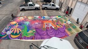 Image of a Backdrop-Mardi Gras Street Parade Canvas