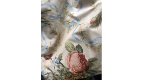 "Image of a 106""R Soft Pink Floral with Blue Ribbon Print"