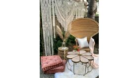 Image of a Aria Macrame Backdrop on Copper Stand