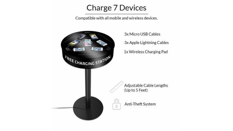 Picture of a Charging Station - Hi Boy Table  with Branding