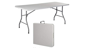 Image of a 6' Banquet Table (grey, resin, folds at center)