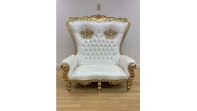 Image of a White w/ gold trim crown love seat