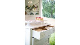 "Image of a Dresser with mirror White 26"" 12"" 36"" Bars & Buffets"
