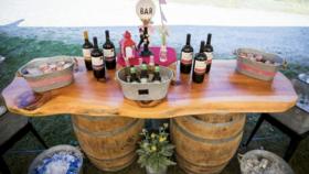 Image of a Wood slab Wood 7' 2' and 2 wine barrels Bars & Buffets
