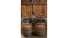 Image of a Glass top Glass 5' 3'  & two wine barrels Bars & Buffets