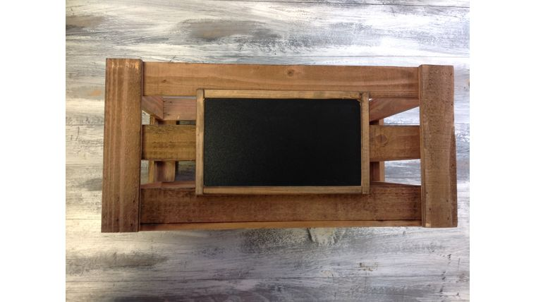 """Picture of a Apple crate w/ chalkboard Dark brown Wood 7.5"""" 10"""" 16"""" Crates & Barrels"""