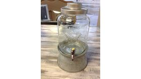 Image of a Drink dispensers Mason Jar style with galvanized stands 17in Beverage & Barware