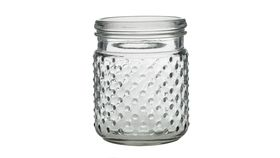 Image of a Clear Hobnail Jar Candle Holder- Small