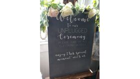 Image of a Unplugged Ceremony - Gray Wood Sign