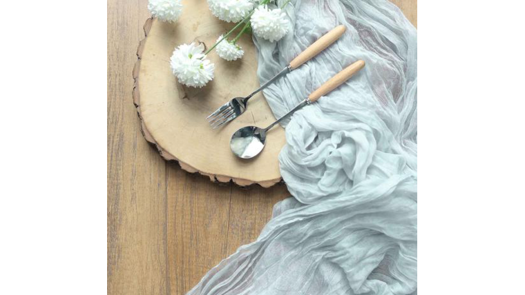"""Picture of a Table Runner, Cheesecloth, Gauze, color silver, 120"""""""