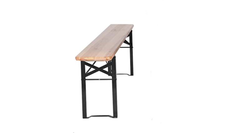 """Picture of a Beer Garden Bench, folding, wood/metal, 69.5"""" L x 9.2"""" W x 18.25' H"""