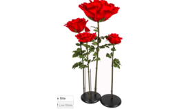 Image of a Artificial red rose stand